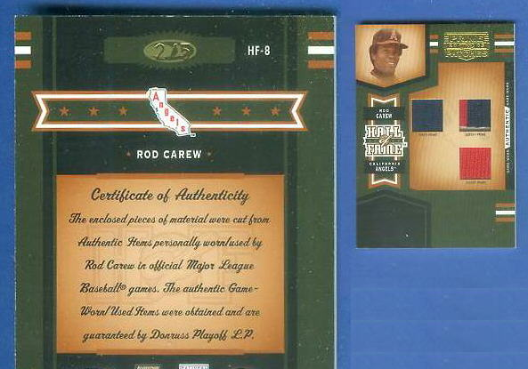Rod Carew - 2005 Prime Patches TRIPLE GAME USED JERSEY/JACKET/PANTS Baseball cards value