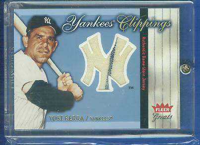 Yogi Berra - 2004 Fleer Greats 'YANKEES CLIPPINGS' GAME-USED JERSEY Baseball cards value