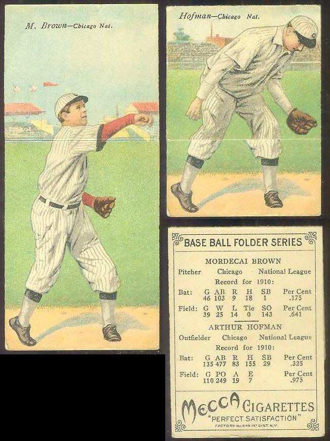 1911 Mecca Double Folders T201 #xx Mordecai Brown/Arthur Hofman (Cubs) Baseball cards value