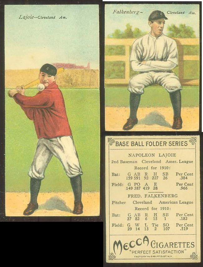 1911 Mecca Double Folders T201 #xx Napoleon Lajoie/Fred Falkenberg (Indians Baseball cards value