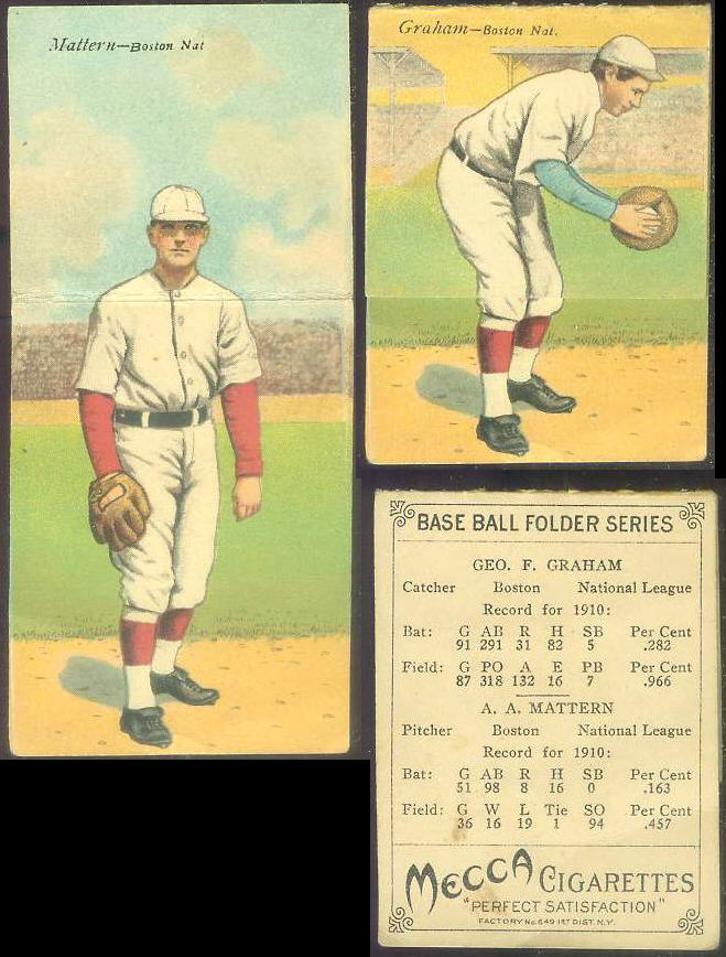 1911 Mecca Double Folders T201 #xx A.A. Mattern/Geo. Graham (Boston Braves) Baseball cards value