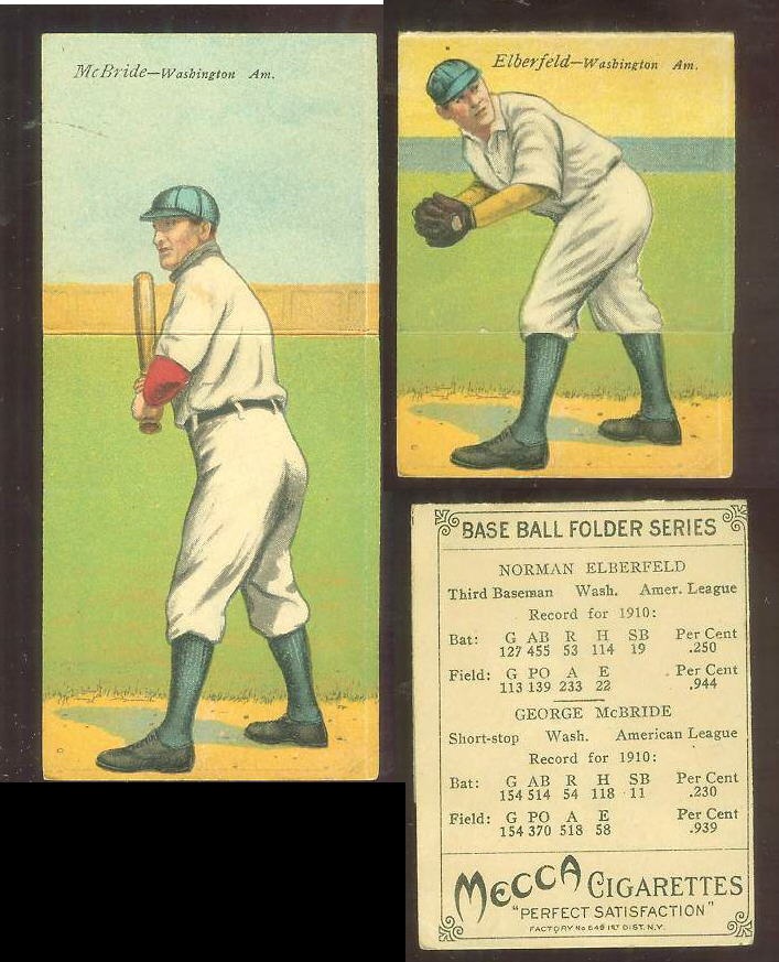 1911 Mecca Double Folders T201 #xx Geo. McBride/Norman Elberfeld [#a] Baseball cards value