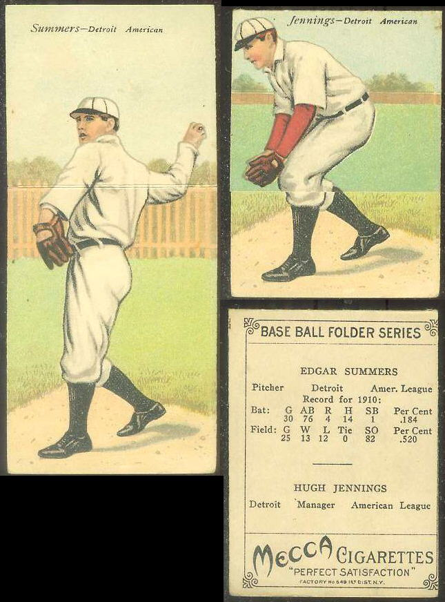 1911 Mecca Double Folders T201 #xx Edgar Summers/Hugh Jennings MGR (Tigers) Baseball cards value
