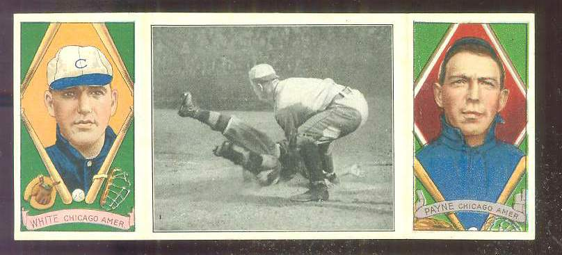 1912 Hassan Triple Folders T202 #34 'Doc' White/.../Fred Payne (White Sox) Baseball cards value