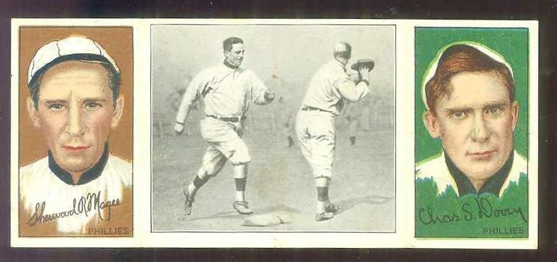 1912 Hassan Triple Folders T202 #49 S.R. Magee/Mike Donlin/Chas. Dooin Baseball cards value