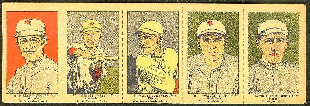1923 Walter Johnson - COMPLETE 5-card W-515 Panel Baseball cards value