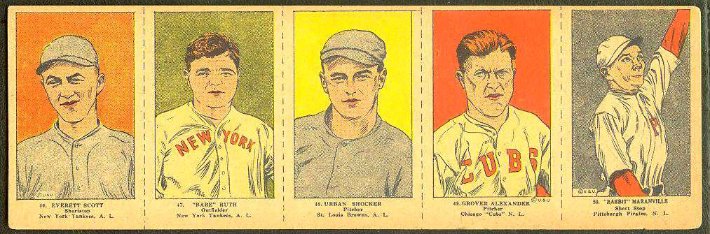 1923 BABE RUTH - COMPLETE 5-card W-515 Panel  (Yankees) Baseball cards value