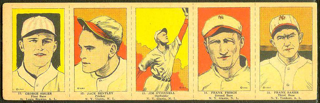 1923 George Sisler/Frankie Frisch - COMPLETE 5-card W-515 Panel Baseball cards value