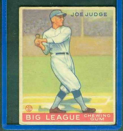 1933 Goudey #155 Joe Judge (Brooklyn Dodgers) Baseball cards value
