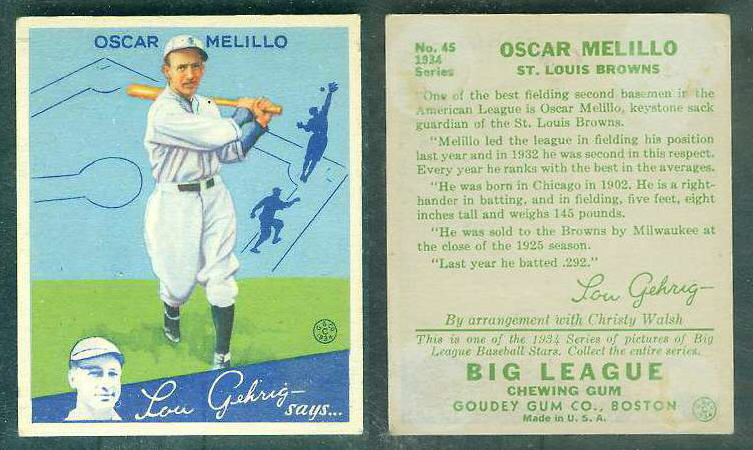 1934 Goudey #.45 Oscar Melillo (St. Louis Browns) Baseball cards value