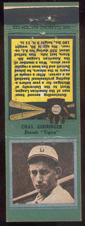1934 Diamond Matchbooks 'Silver Border' - Charlie Gehringer (Tigers) Baseball cards value