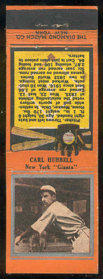 1934 Diamond Matchbooks 'Silver Border' - Carl Hubbell (NY Giants) Baseball cards value
