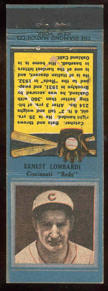 1934 Diamond Matchbooks 'Silver Border' - Ernie Lombardi (Reds) Baseball cards value