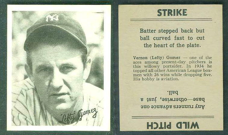 1936 Goudey B/W  - Lefty Gomez (Yankees) Baseball cards value