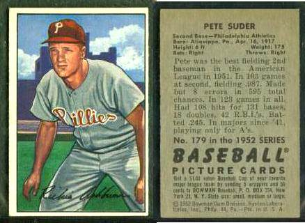 1952 Bowman WRONG-BACK #.53 Richie Ashburn (with #179 Pete Suder on back) Baseball cards value