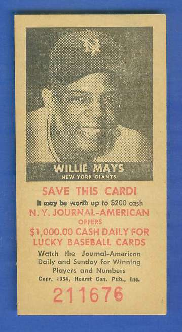 1954 New York Journal-American - WILLIE MAYS (Giants) Baseball cards value