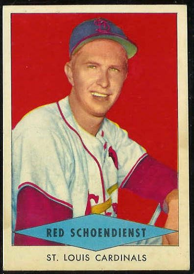1954 Red Heart - Red Schoendienst SHORT PRINT [#b] (Cardinals) Baseball cards value