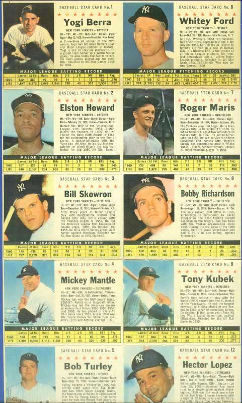 1961 Post Cereal - New York YANKEES COMPLETE TEAM PANEL (10 cards) Baseball cards value