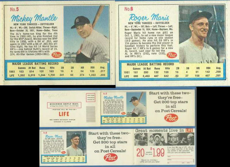 MICKEY MANTLE/ROGER MARIS - 1962 Post Life Magazine complete ad panel ! Baseball cards value