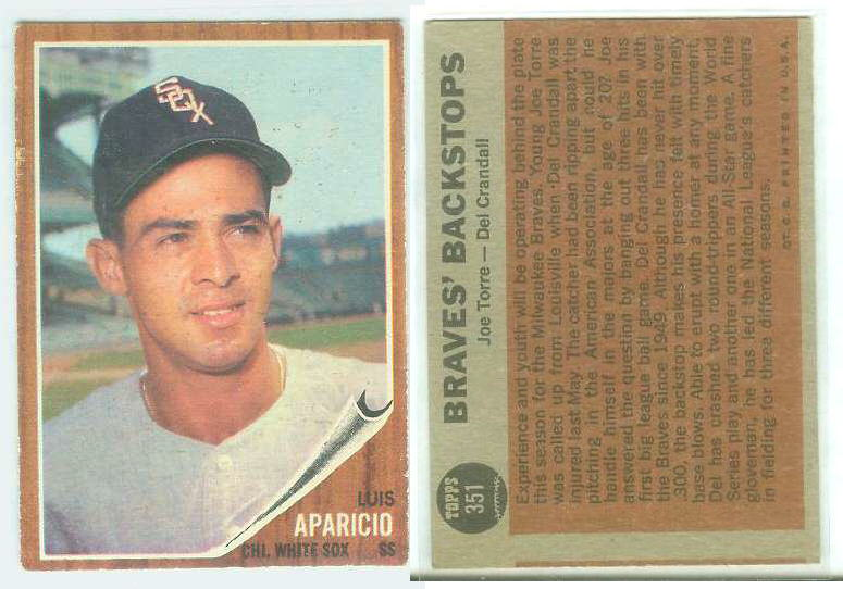 1962 Topps  WRONG BACK - Luis Aparicio (front) / Joe Torre/Crandall (back) Baseball cards value