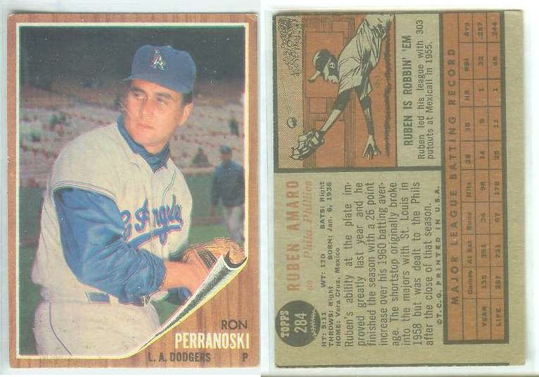 1962 Topps  WRONG BACK - Ron Perranoski (front) / Ruben Amaro (back) Baseball cards value