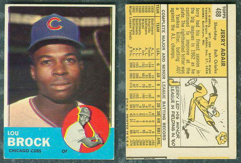 1963 Topps WRONG BACK #472 Lou Brock (Cubs) Baseball cards value