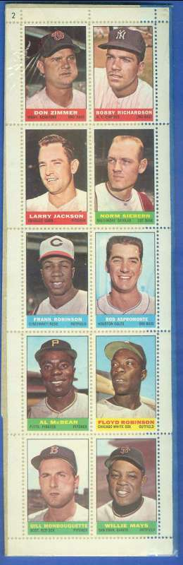 1964 Bazooka COMPLETE 10-Stamp PANEL - WILLIE MAYS Baseball cards value