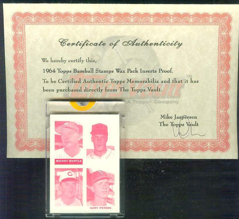 1964 Topps STAMPS PROOF Magenta - MICKEY MANTLE/Gary Peters/Bill O'toole Baseball cards value