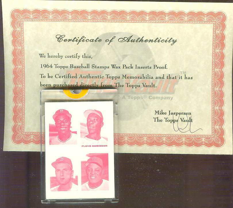 1964 Topps STAMPS PROOF Magenta - WILLIE MAYS/Floyd Robinson/Al McBean Baseball cards value