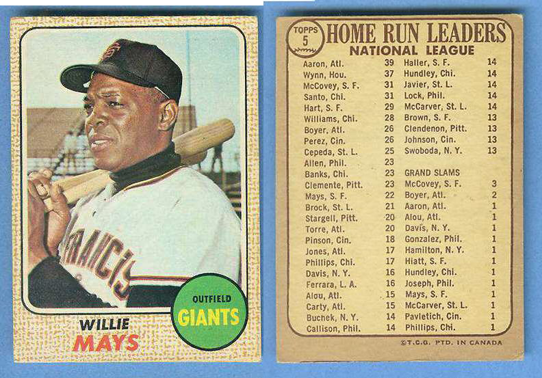 1968 O-Pee-Chee WRONG BACK - WILLIE MAYS Baseball cards value