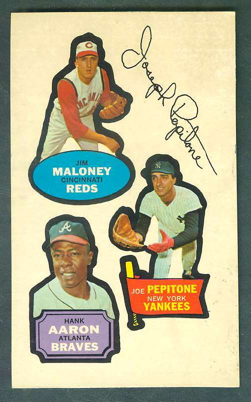 1968 Topps ACTION STICKER PANEL - HANK AARON/Jim Maloney/Joe Pepitone Baseball cards value