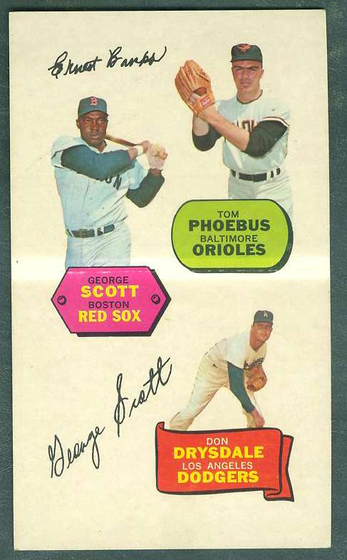 1968 Topps ACTION STICKER PANEL - DON DRYSDALE/George Scott/Tom Phoebus Baseball cards value
