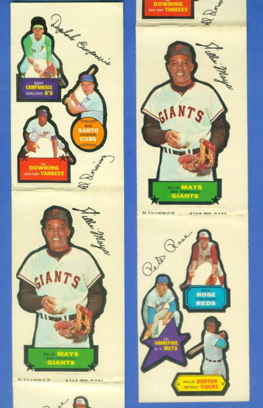 1968 Topps ACTION STICKER PANEL - WILLIE MAYS (COMPLETE 3 PANELS !!!) Baseball cards value