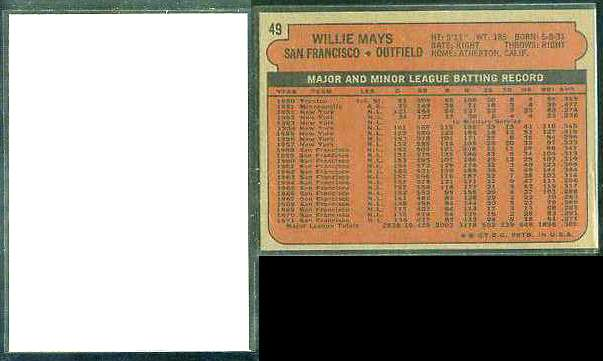 1972 Topps BLANK-FRONT PROOF #.49 WILLIE MAYS (Giants) Baseball cards value