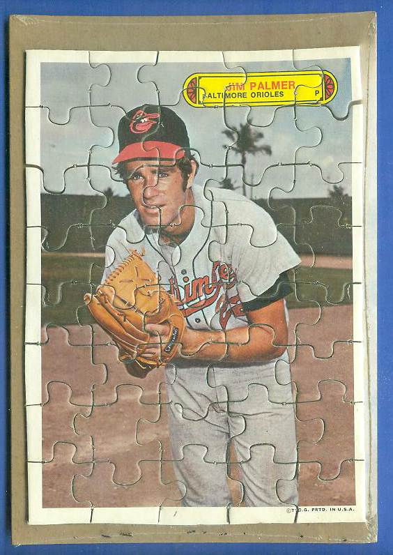 1974 Topps PUZZLE - JIM PALMER with WRAPPER !!! (Orioles) Baseball cards value