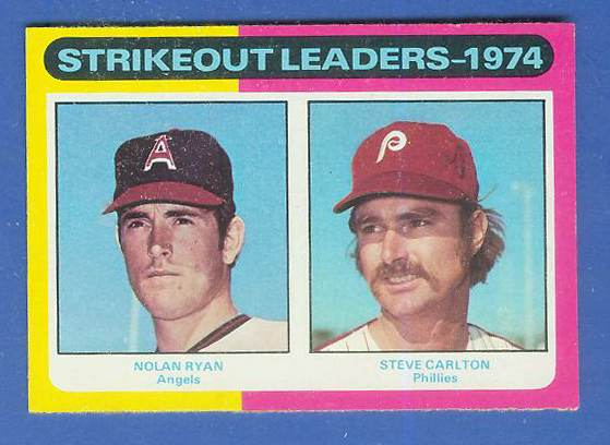 1975 Topps #312 Strikeout Leaders [#c] (Nolan Ryan/Steve Carlton) Baseball cards value