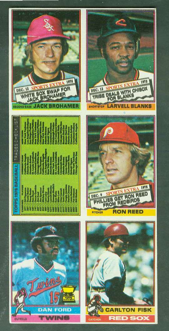 1976 Topps  6-CARD PANEL featuring CARLTON FISK (Red Sox) Baseball cards value