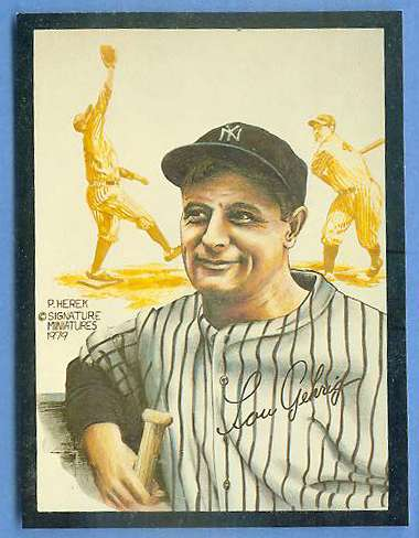 1979 Signature Miniatures ART CARD - LOU GEHRIG [#a] (Yankees) Baseball cards value