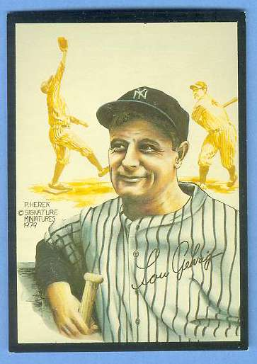 1979 Signature Miniatures ART CARD - LOU GEHRIG [#b] (Yankees) Baseball cards value
