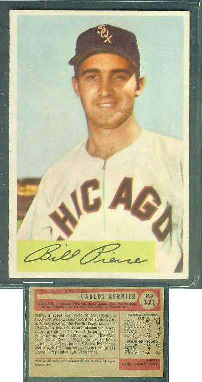 1954 Bowman WRONG BACK - Bill Pierce (White Sox) / Carlos Bernier (Pirates) Baseball cards value