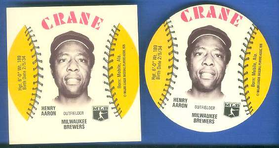 1976 Crane SQUARE-CUT PROOF - HANK AARON with Regular Disc (Brewers/Braves) Baseball cards value