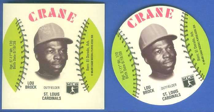 1976 Crane SQUARE-CUT PROOF - LOU BROCK with Regular Disc (Cardinals) Baseball cards value