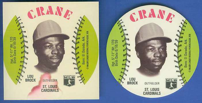 1976 Crane SQUARE-CUT PROOF - LOU BROCK with Regular Disc Baseball cards value