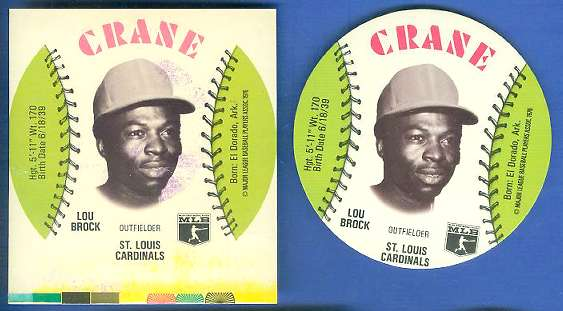 1976 Crane SQUARE-CUT PROOF w/COLOR BARS - LOU BROCK with Regular Disc Baseball cards value