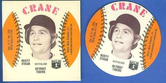 1976 Crane SQUARE-CUT PROOF - Rusty Staub with Regular Disc (Tigers) Baseball cards value