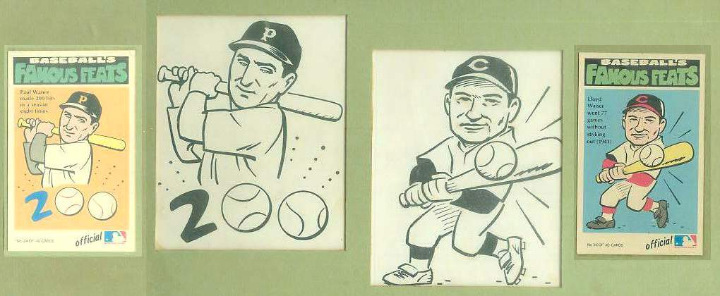 1973 Fleer Baseball Famous Feats ORIGINAL ARTWORK - Lloyd & Paul Waner !!! Baseball cards value