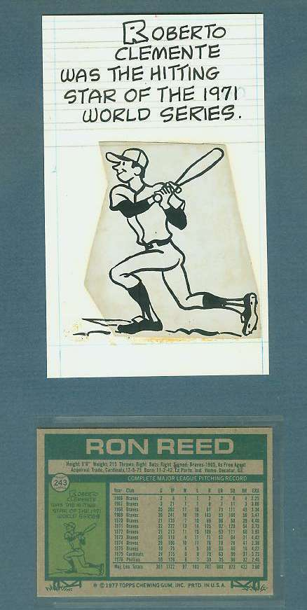 1977 Topps ORIGINAL ARTWORK - ROBERTO CLEMENTE Baseball cards value