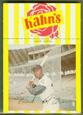 Hank Aaron - 1968/69 Kahn's [#a] LARGE w/Black Sleeves (Braves) Baseball cards value