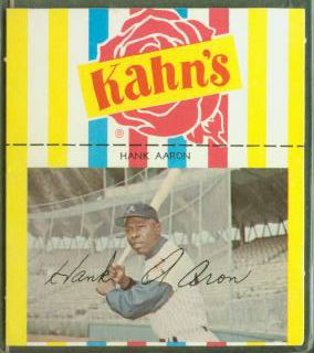 Hank Aaron - 1968/69 Kahn's [#b] SMALL w/Black Sleeves (Braves) Baseball cards value