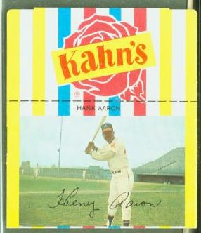 Hank Aaron - 1968/69 Kahn's [#c] SMALL w/White Sleeves (Braves) Baseball cards value